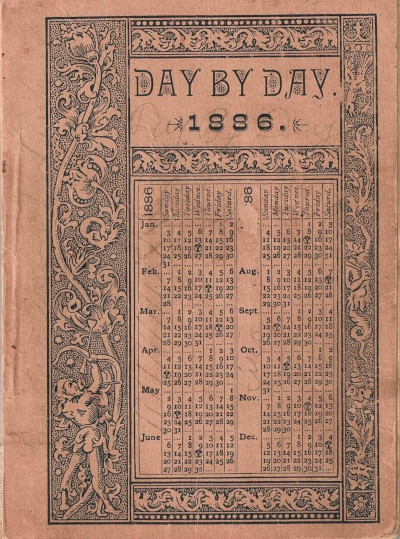 Cover of Isaiah Reid's 1886 'Day By Day' spiritual almanac